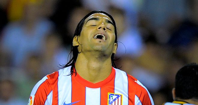 Falcao: Scored a hat-trick as Atletico enjoyed a 4-0 victory over Racing Santander