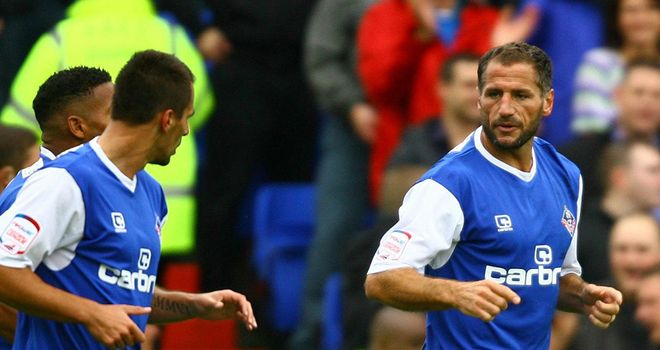 Kuqi (right): Celebrates his first goal for Oldham