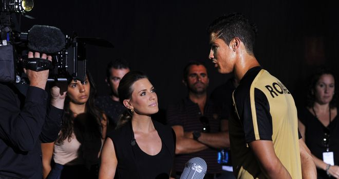From on high: Ronaldo takes time out for a chat with Georgie