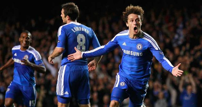 Luiz: Celebrates his goal against Bayer Leverkusen on Tuesday night
