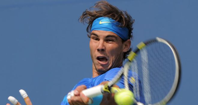 Nadal: safely through to the last 16 but he was tested at times by Nalbandian