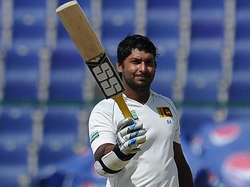 Kumar Sangakkara celebrates his double century.