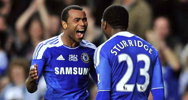 Ashley Cole and Daniel Sturridge celebrate Chelsea's opening goal against Everton