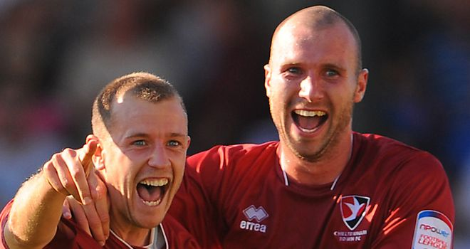 Summerfield (left): Celebrates his goal for Cheltenham
