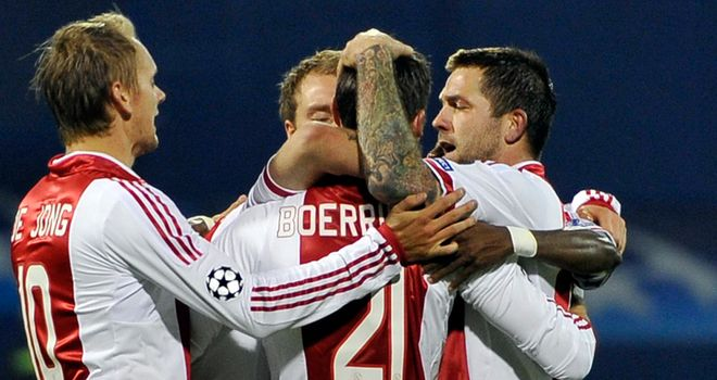 Derk Boerrigter: Celebrates with his team-mates after putting Ajax in front against Dinamo Zagreb