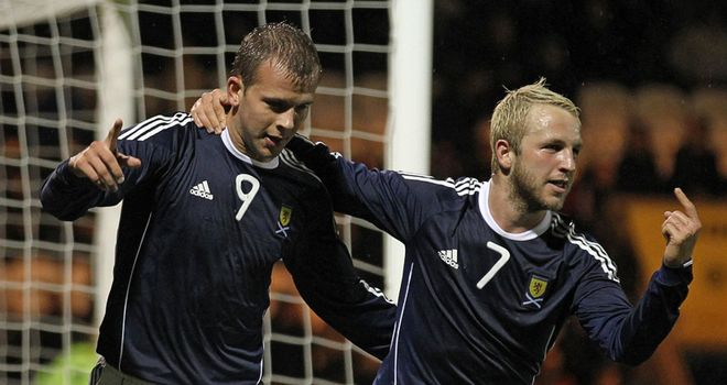 Jordan Rhodes: The Scottish striker, left, has been called up to the full international squad