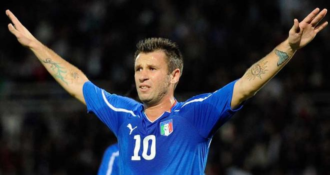 Antonio Cassano: Italy striker celebrates after scoring a brace in 3-0 win over Northern Ireland