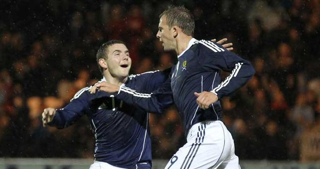 Jordan Rhodes: Bagged a double for Scotland's youngsters as they drew with Austria