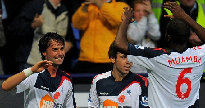 Chris Eagles (l): Grabbed two goals in Bolton's 5-0 win over Stoke but afterwards praised his manager Owen Coyle for giving him self-belief