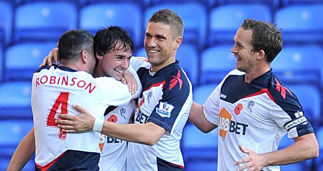 Chris Eagles: Midfielder mobbed by team-mates during Bolton's victory over Stoke at home