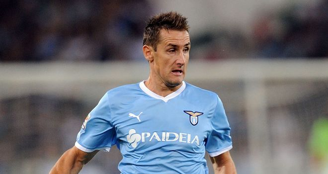 Miroslav Klose: Unlikely to return until late April due to a thigh injury