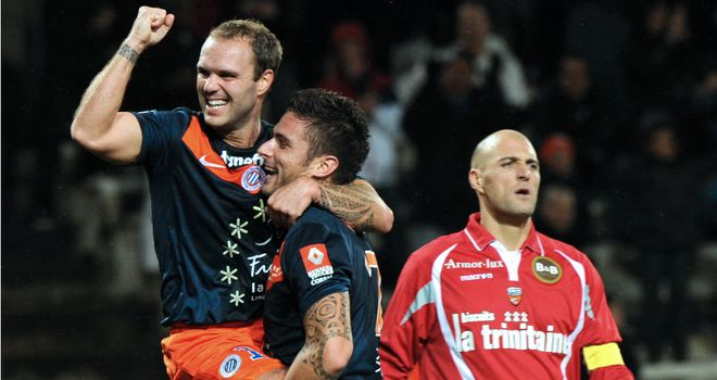 Geoffrey Dernis and Olivier Giroud both scored for Montpellier
