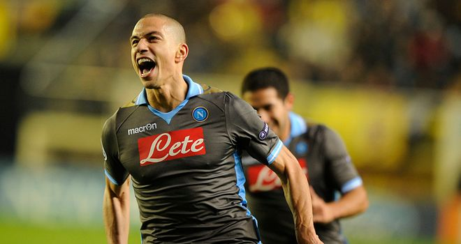 Gokhan Inler: Swiss midfielder celebrates after giving Napoli the lead against Villarreal