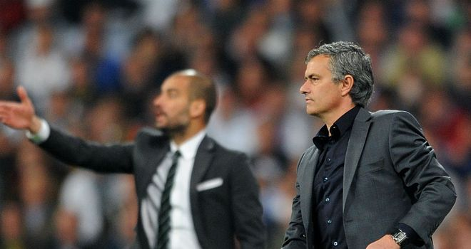 Jose Mourinho: (right) will go head-to-head with Pep Guardiola (left) in El Clasico