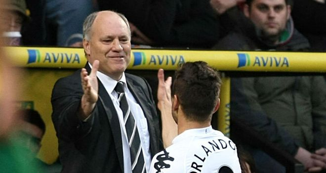Martin Jol: Happy with Orlando Sa in the 1-1 draw at Norwich