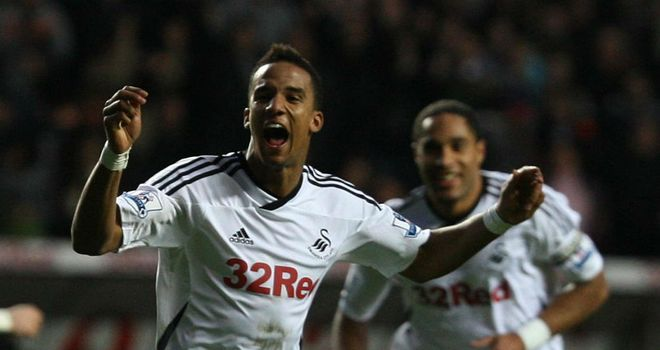 Swansea v Fulham: Scott Sinclair celebrates the Swans' first goal of the afternoon