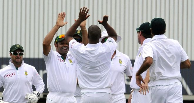 Vernon Philander celebrates during match-figures of 10-102