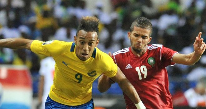 Pierre Emerick Aubameyang holds off Morocco's Garcele Mehdi Francois