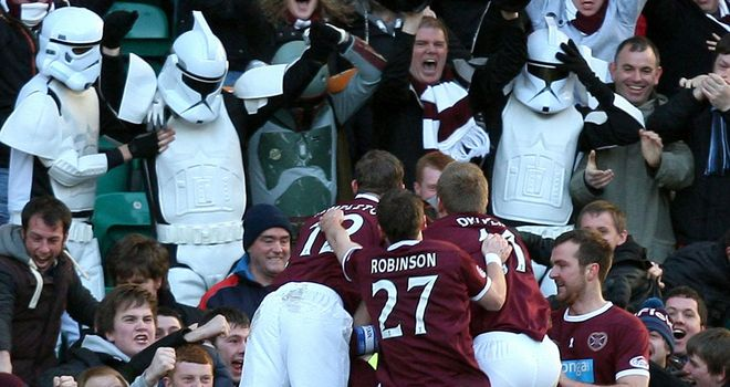 Hearts: Celebrate one of their goals at Easter Road