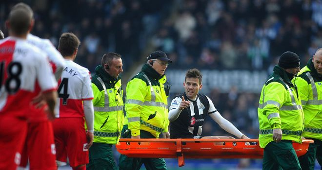 Yohan Cabaye: Had to be stretchered from the field after Shaun Derry's 20th minute challenge