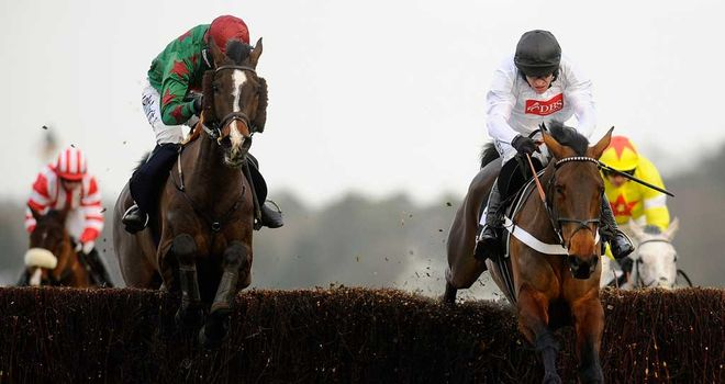Finian's Rainbow (R): faces just four rivals as he returns to action in the Amlin 1965 Chase at Ascot on Saturday