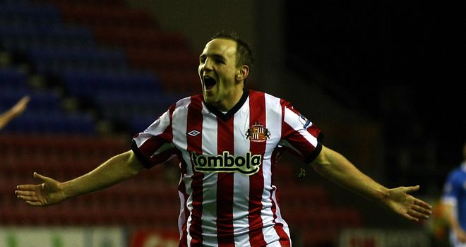 David Vaughan: Sunderland midfielder celebrates his goal against Wigan