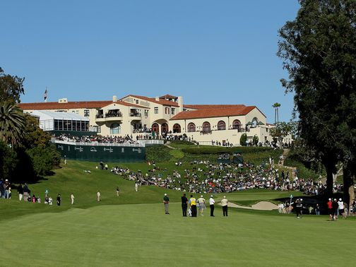 The famous 18th and clubhouse at Riviera.