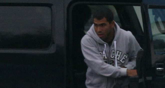 Tevez: The Manchester City striker is back in training but is unlikely to feature against Blackburn on Saturday