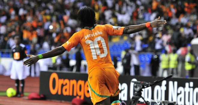 Gervinho: Celebrating taking Ivory Coast to the Africa Cup of Nations final