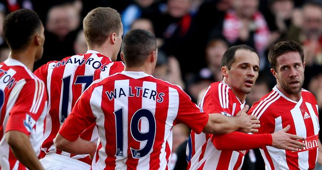 Matthew Upson: Is congratulated by his team-mates after scoring the opener