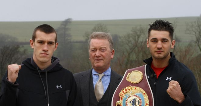 Nathan Cleverly (r) must first deal with Tommy Karpency (l)