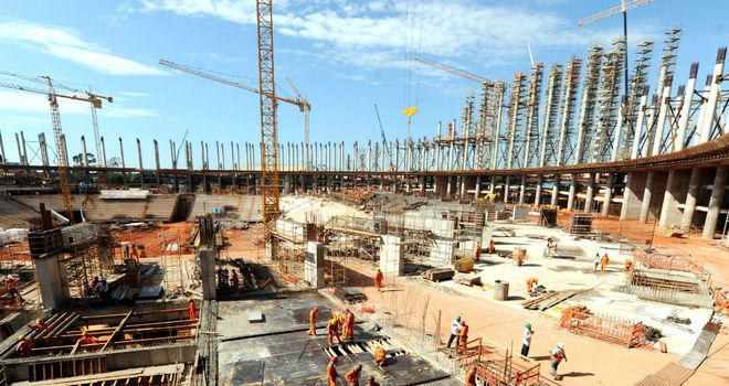Contruction continues at Brazil's new national stadium ahead of the 2014 finals