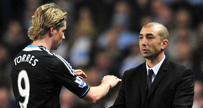 Fernando Torres appeared to be unhappy at being replaced by Didier Drogba at Manchester City