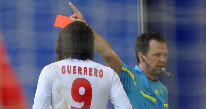 Paolo Guerrero was shown a straight red card for his violent challenge