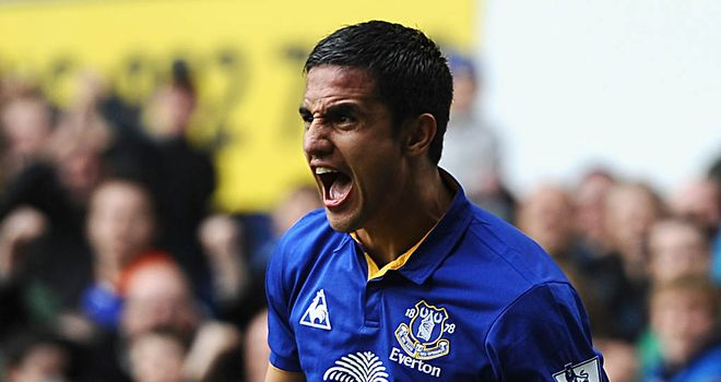Tim Cahill levelled for Everton