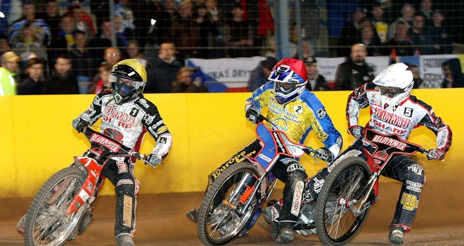 Kenneth Bjerre, far left, in action for Peterborough (pic: Mike Hinves)