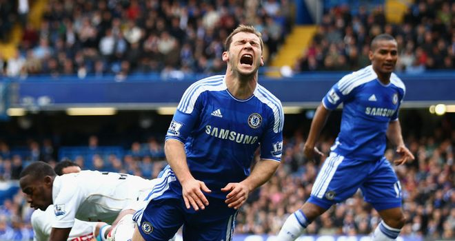 Branislav Ivanovic: The Chelsea defender will miss the FA Cup semi-final against Tottenham for thumping Shaun Maloney