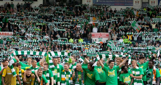Celtic: Celebrating title at Rugby Park