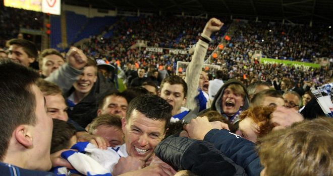 Ian Harte: in happier times celebarting Reading's recent Premier League promotion