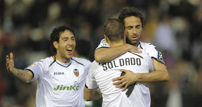 Valencia: Celebrate Jonas' opener in their 4-0 win over Real Betis