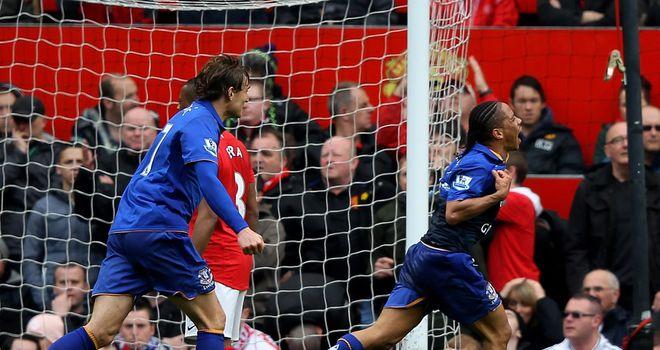 Steven Pienaar: celebrating his 85th-minute equaliser against United in April