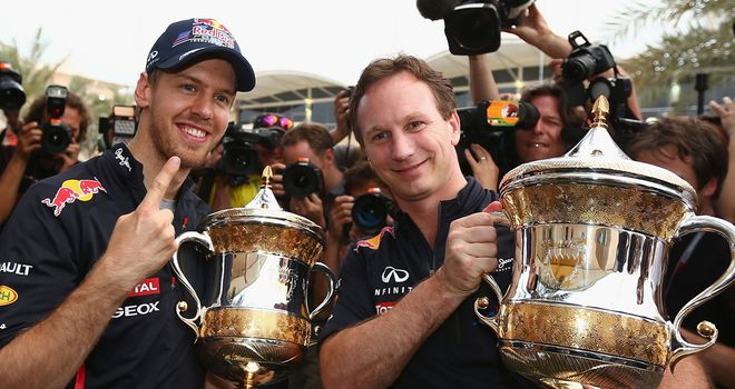 Sebastian Vettel and Christian Horner show off RBR's Sakhir spoils
