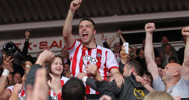 Rickie Lambert: Southampton striker celebrates promotion with the fans