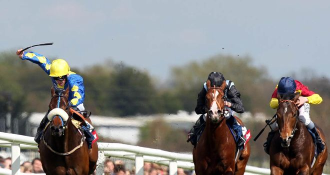 Caspar Netcher (left): Hits the front to win the Greenham Stakes at Newbury
