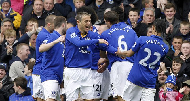 Magaye Gueye is congratulated after scoring Everton's opener against Sunderland