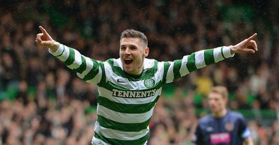 Hooper: Celebrates goal at Parkhead