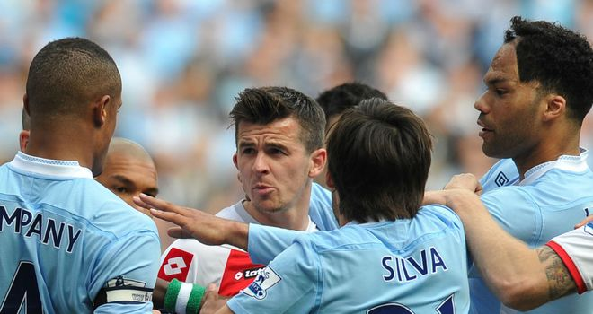 Joey Barton: The QPR midfielder was sent off against Manchester City after elbowing Carlos Tevez
