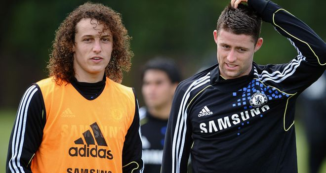 David Luiz and Gary Cahill: Duo featured in training for Chelsea on Tuesday