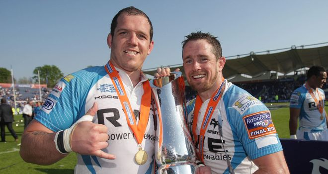 Shane Williams celebrates Ospreys' title success with Paul James