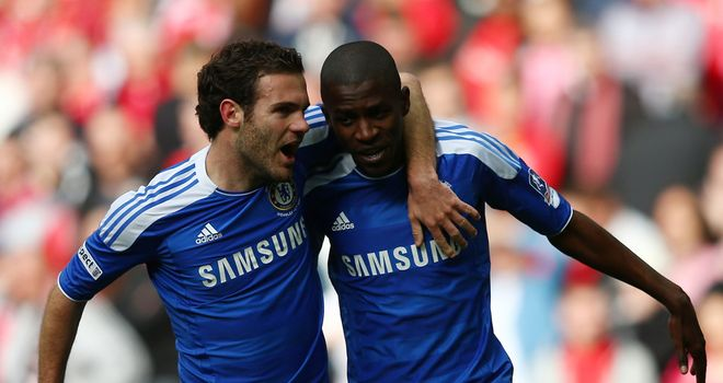 Juan Mata: Celebrates with goalscorer Ramires in the FA Cup success over Liverpool